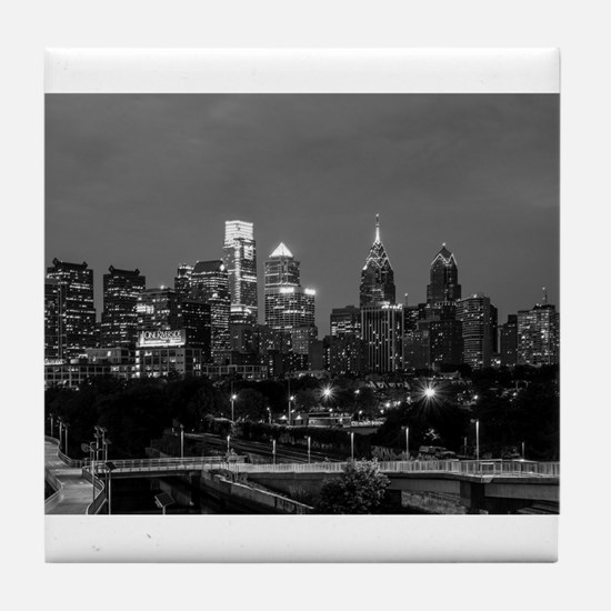 Philly skyline from Schuylkill Banks Tile Coaster