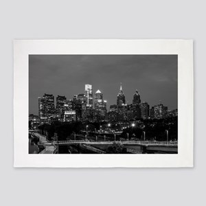 Philly skyline from Schuylkill Bank 5'x7'Area Rug