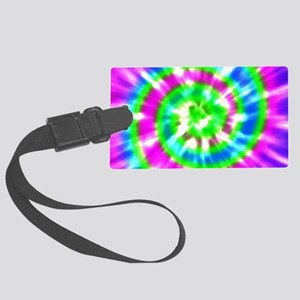 Retro Tie Dye Purple, Aqua, Gree Large Luggage Tag