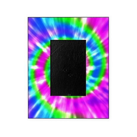 Retro Tie Dye Purple Aqua Green Picture Frame By Naturetees