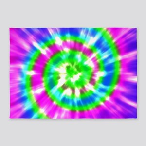 Retro Tie Dye Purple, Aqua, Green 5'x7'Area Rug