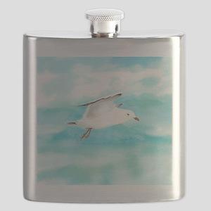 Watercolor Seagull Bird in Rain at Lake Flask