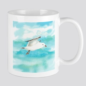 Watercolor Seagull Bird in Rain at Lake Mugs