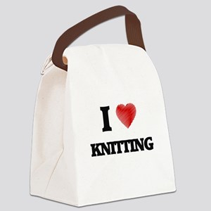 I Love Knitting Canvas Lunch Bag