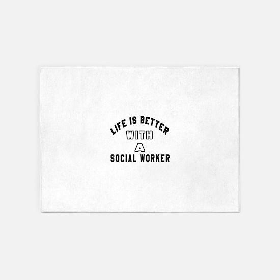 Social Worker Designs 5'x7'Area Rug