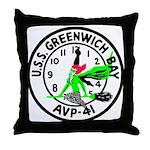 USS Greenwich Bay (AVP 41) Throw Pillow