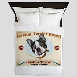 Vintage Boston Terrier Cigars Queen Duvet