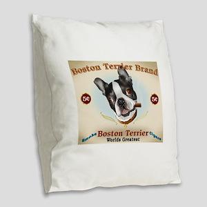 Vintage Boston Terrier Cigars Burlap Throw Pillow