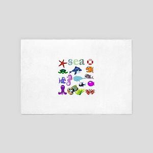 Sea Creatures Collage 4' x 6' Rug
