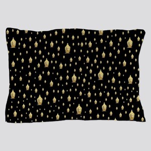 golden buddha in black Pillow Case
