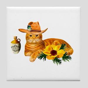 Cowboy Cat Tile Coaster