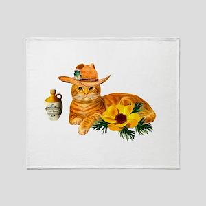 Cowboy Cat Throw Blanket