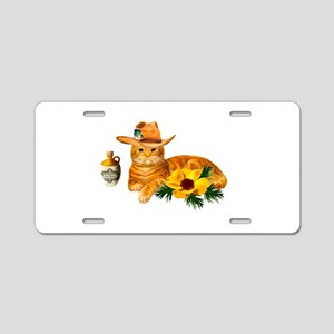 Cowboy Cat Aluminum License Plate