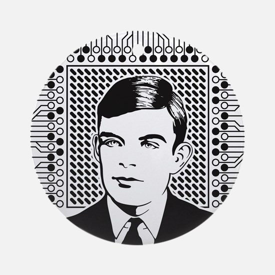 Alan Turing Portrait Round Ornament