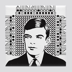 Alan Turing Portrait Tile Coaster