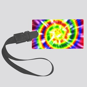 Retro Tie Dye - Groovy Colors Large Luggage Tag