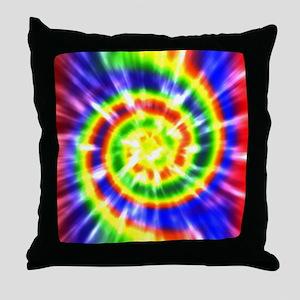 Retro Tie Dye - Groovy Colors Throw Pillow