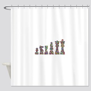 Prismatic Rainbow Chess Shower Curtain