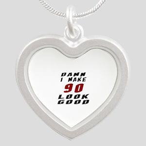 Damn I Make 90 Look Good Silver Heart Necklace