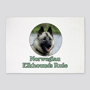 Norwegian Elkhounds Rule 5'x7'Area Rug
