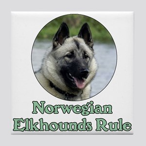 Norwegian Elkhounds Rule Tile Coaster