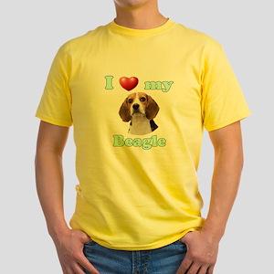 I Love My Beagle Yellow T-Shirt
