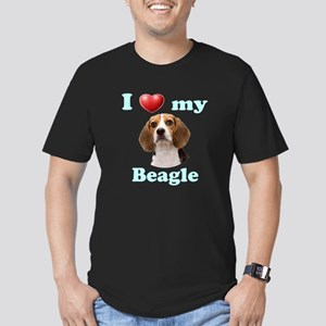 I Love My Beagle Men's Fitted T-Shirt (dark)