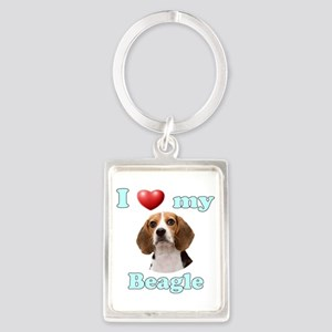 I Love My Beagle Portrait Keychain