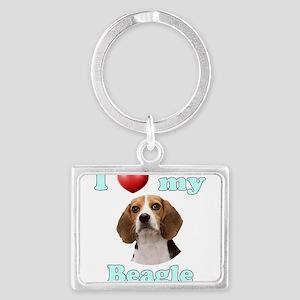 I Love My Beagle Landscape Keychain