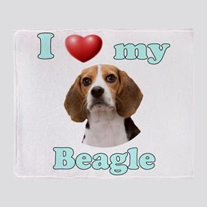 I Love My Beagle Throw Blanket