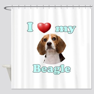 I Love My Beagle Shower Curtain