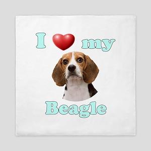 I Love My Beagle Queen Duvet