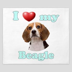 I Love My Beagle King Duvet