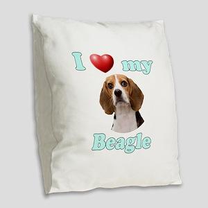 I Love My Beagle Burlap Throw Pillow