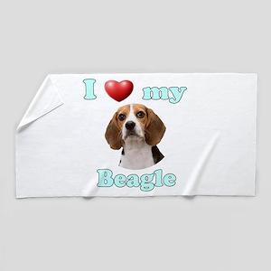 I Love My Beagle Beach Towel