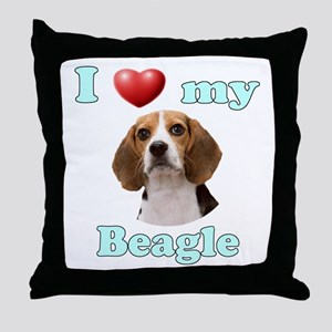 I Love My Beagle Throw Pillow