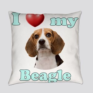 I Love My Beagle Everyday Pillow
