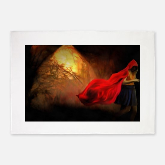 Little Red Riding Hood Story Art 5'x7'Area Rug