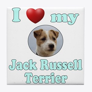 I Love My Jack Russell Terrier Tile Coaster