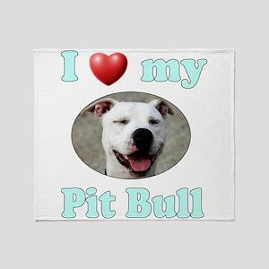 I Love My Pit Bull Throw Blanket