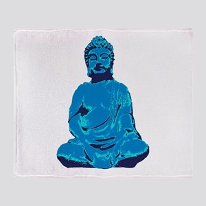 Buddha blue Throw Blanket