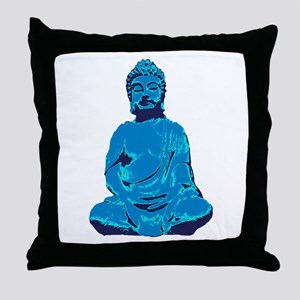 Buddha blue Throw Pillow