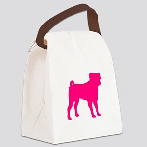 Pug Pink 1C Canvas Lunch Bag