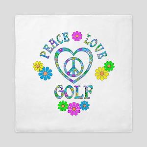 Peace Love Golf Queen Duvet