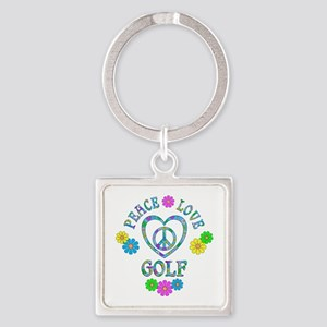 Peace Love Golf Square Keychain