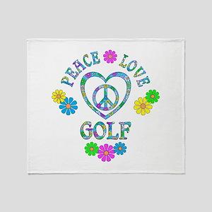 Peace Love Golf Throw Blanket