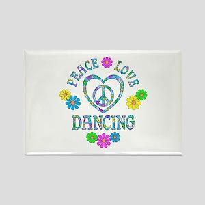 Peace Love Dancing Rectangle Magnet