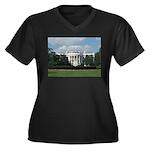 White House Women's Plus Size V-Neck Dark T-Shirt