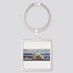 Polar Bears Evening In Arctic Keychains