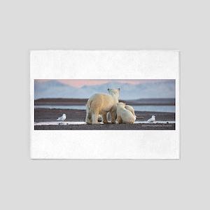 Polar Bears Evening In Arctic 5'x7'Area Rug